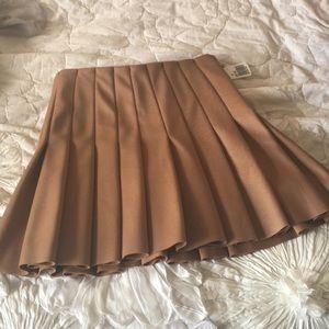 Camel Pleated Skirt